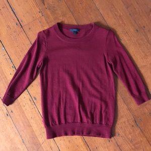 J.Crew merino wool 3/4 cranberry sweater